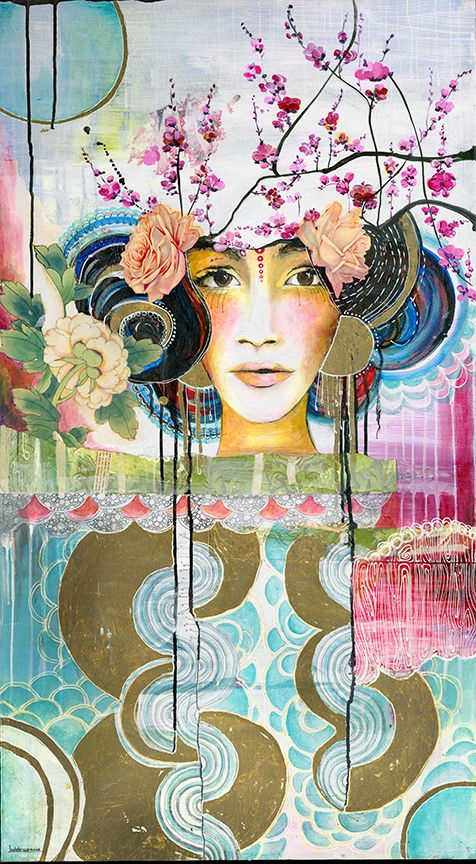 """Cherry Woman"" (dimensions are 28"" X47"") was painted while Anahata was  living on a tropical island in Belize.  In many ways ""Cherry Woman""  represents the place where the Northern plants and flowers such as Cherry  Blossoms and roses meet the Caribbean sea.  Acrylic paint and mixed media  on stretched canvas.  This piece is also framed in a beautiful wooden, gold  frame.   This painting is part of the PAPAYA! collection, where Anahata reproduces  her original works.  This piece is currently…"