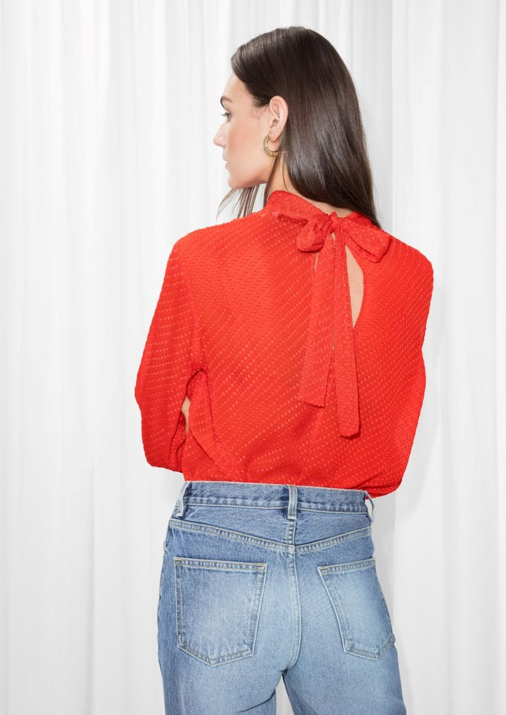 & Other Stories image 1 of Ribbon Tie Top in Red