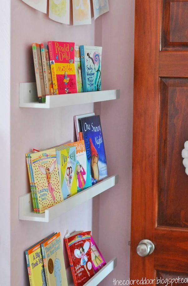 Book shelf idea instead of gutters or spice racks for Book rack designs for bedroom