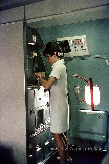 Stewardess, Flight Attendant, Cabin Crew, Boeing 727-223, American Airlines, Galley, 1968 | Flickr - Photo Sharing!