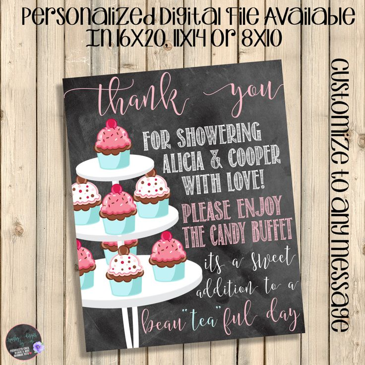 Baby Girl, Dessert Table Sign, Thank You Sign, Gifts Table Sign, Afternoon Tea Party Shower Chalkboard Decorations, Birthday Decor, Digital by SquishyDesignsbyMe on Etsy