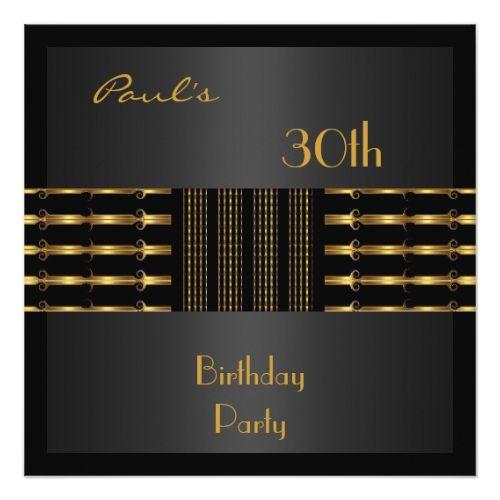 Invitation Mens 30th Birthday Party Black Gold
