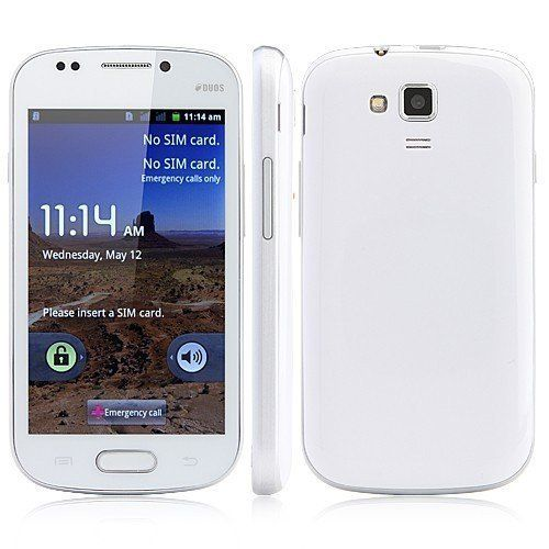Generic Unlocked Quadband 2 sim with Android 2.3 OS (Android 4.1 UI) Smart Phone 4.0 Inch Capacitive Touch Screen Compatible with GSM carriers T-mobile Simple mobile (White) Generic,http://www.amazon.com/dp/B00AIU4ZDA/ref=cm_sw_r_pi_dp_VBa.sb1AWTVFRNR7