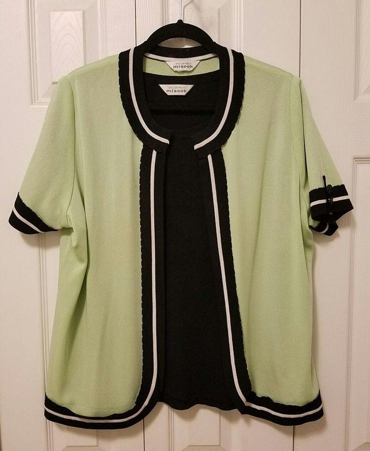 Misook Ladies Cardigan Zip Sweater Jacket Twinset  Mint/Black   Sz L/XL