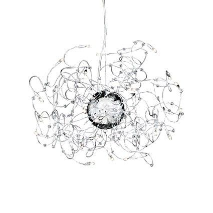 Chrome metal frame with individually adjustable arms. Metal strings with cut crystal pearls. Suspension lamp with steel wire adjustable in length by using an automatic device.
