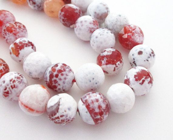 Fire Crab Agate Beads  Brown Orange White  Faceted by BijiBijoux