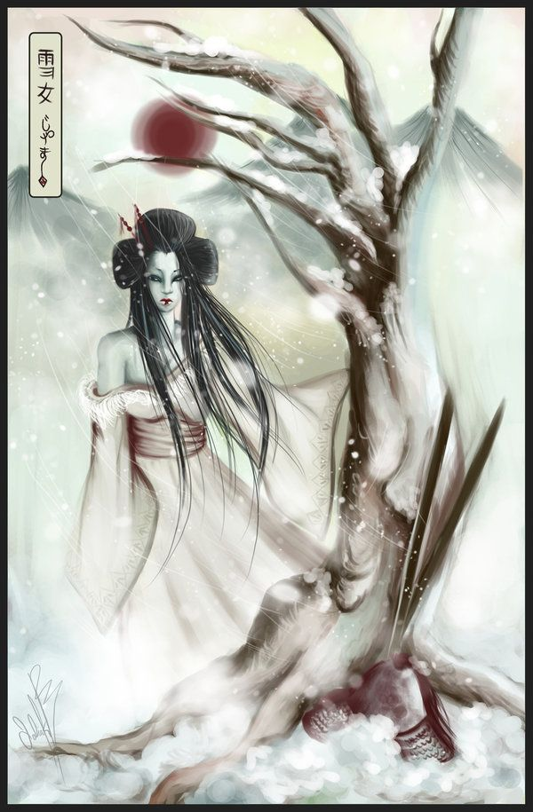 The yuki-onna (雪女, snow woman) is a snow woman ghost that in spite her inhuman beauty, has eyes that can strike terror into mortals lost traveling in the snowy mountains. She floats across the snow, leaving no footprints. There have been many stories about Yuki-onna in both written and oral form.