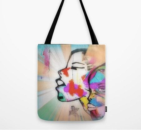 Colourful urban tote bag canvas shopping bag art by Sw19Gallery