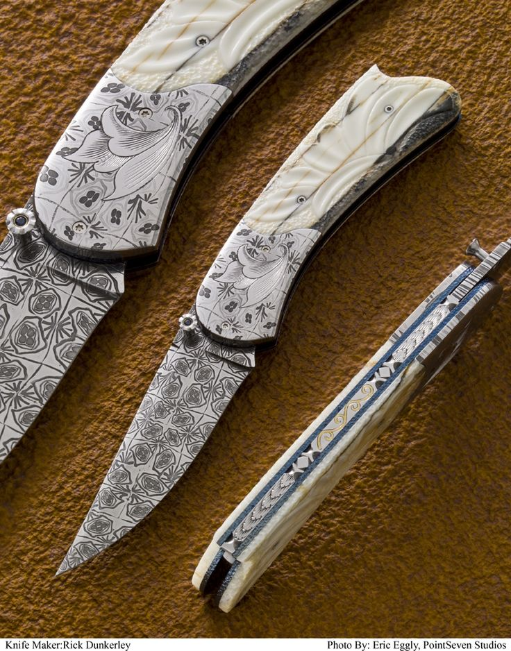 Knifemaker Rick Dunkerley.  Carved fossil walrus ivory handles and 24karat gold inlaid spine . Mosaic damascus blade and bolsters on this one of a kind knife. The opening stud features a sapphire set in 18 karat gold.  Dimensions      6 3/4 inches open with a 2 3/4 inch blade.