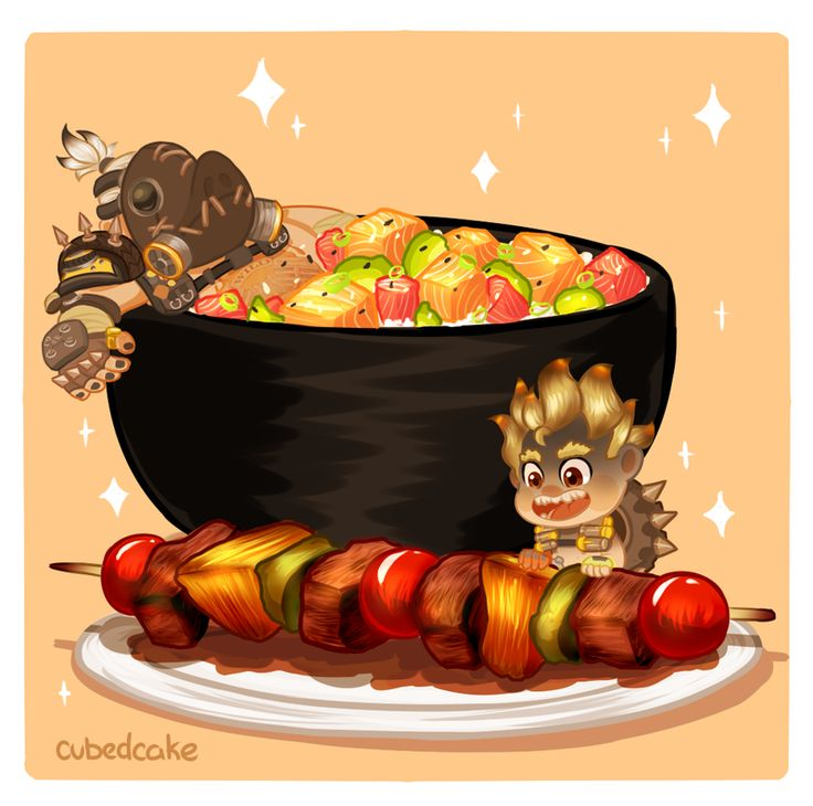 Overwatch Food Set - Anyone want some BBQ? by CubedCake.deviantart.com on @DeviantArt