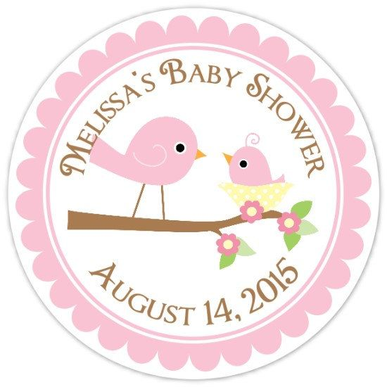 Baby Birds Baby Shower Labels, Mommy and Baby Bird Custom Baby Shower Stickers - Personalized for YOU