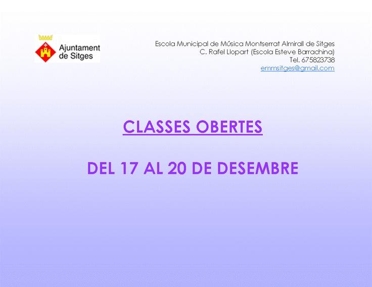 Classes obertes a l'Escola Municipal de Música Montserral Almirall de Sitges del 17 al 20 de desembre de 2012
