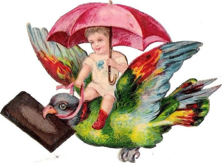 Oblaten Glanzbild scrap die cut chromo Kind child Taube dove Vogel bird Schirm