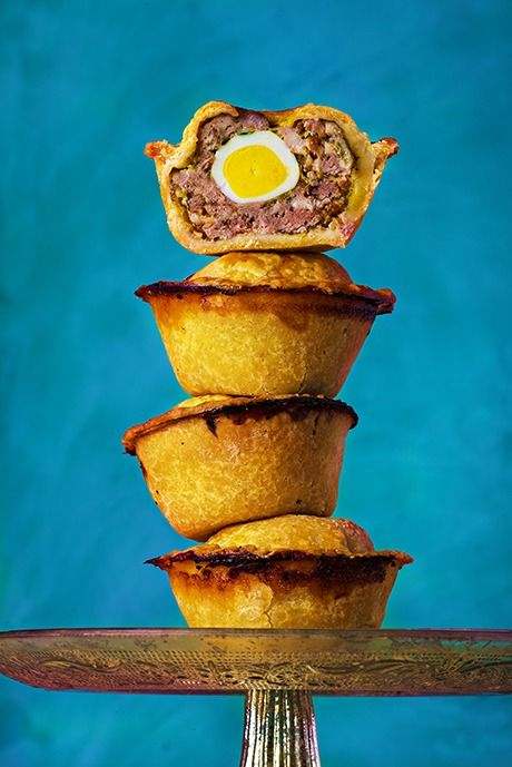 Paul Hollywood's pork pies with quail's eggs.  Photograph: Romas Foord for Observer Food Monthly