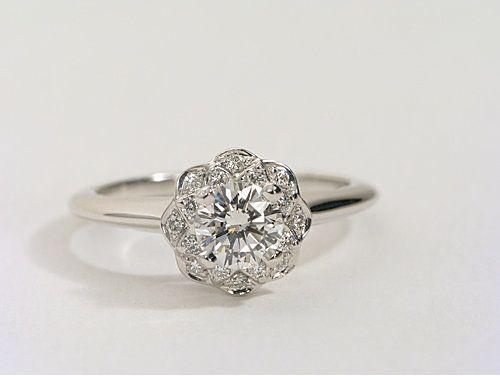 Floral Halo Diamond Engagement Ring in 14k White Gold