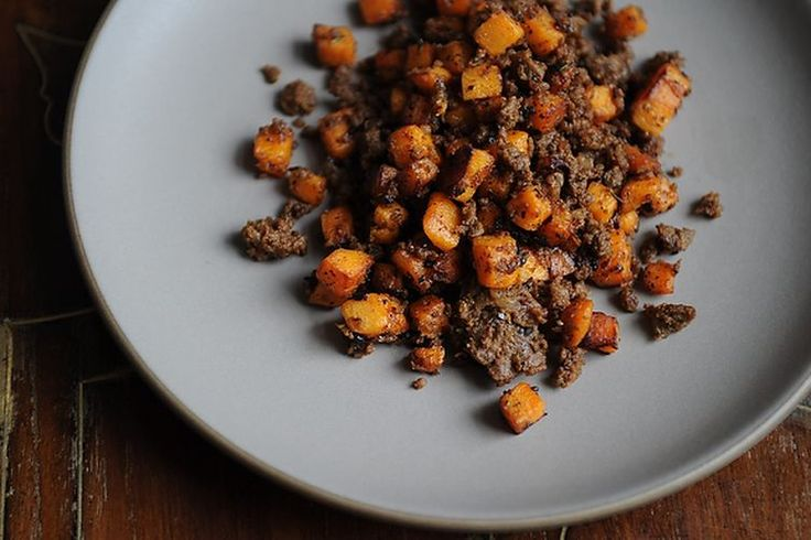 merguez and sweet potato hash.