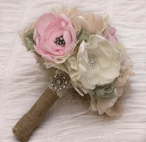 SOLD Custom Order: Fabric flower Wedding Bouquet, with brooches - Sample for Kimberly