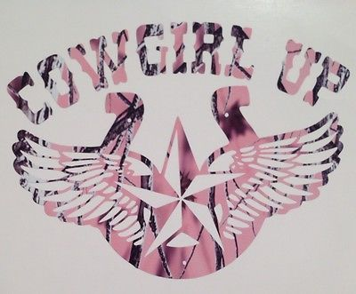 "New Pink Camo Cowgirl Up Horseshoe Country Girl Truck Vinyl Decal 5"" Rodeo Hunt"