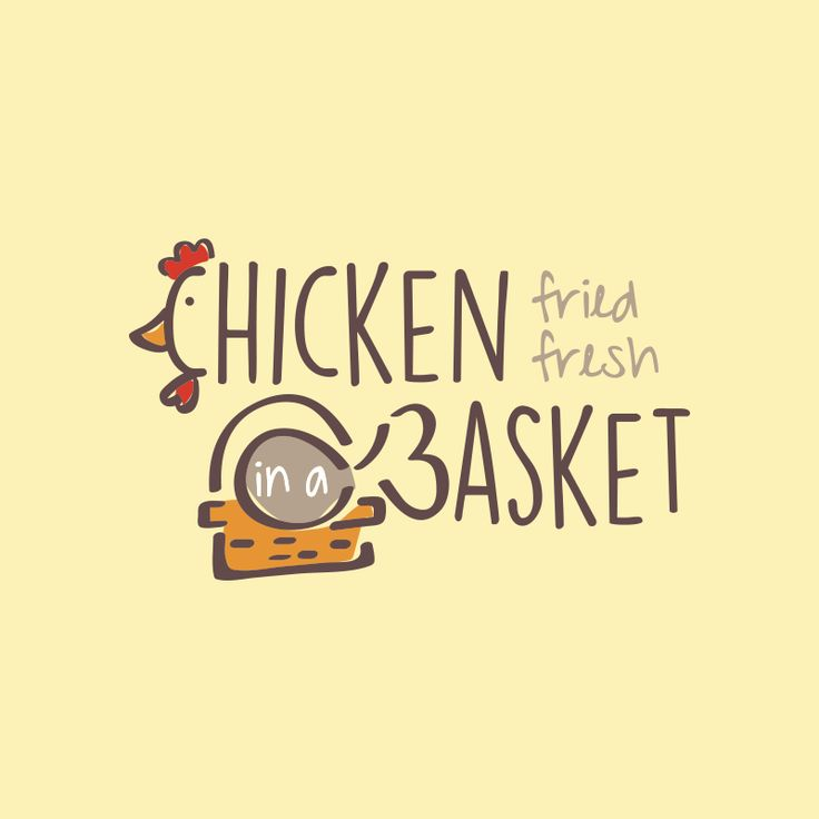 Chicken In A Basket logo design created by using the typography to show a chicken and a basket. | Fried Chicken, Restaurant Logo, Chick, Basket, South, Cafe, Eatery, Food, Fresh, Typography, Whimsical, Comfort Food