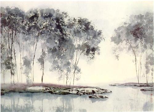 Li Shan  By the waterside  (Ink on Paper)