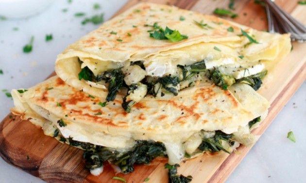 Crepes de espinaca y alcachofa con queso brie, un toque elegante | Confirmado