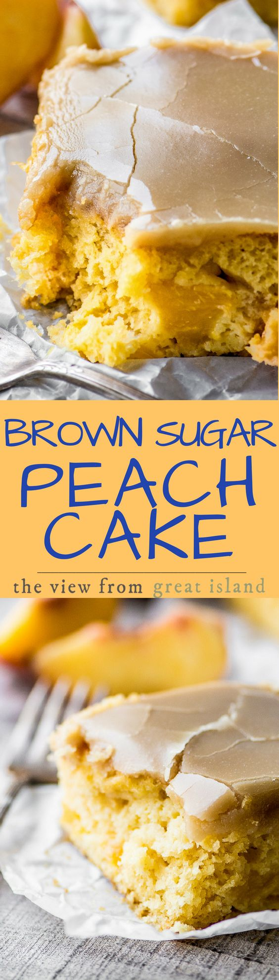 Brown Sugar Peach Cake ~ I can't think of another cake that deserves to be crowned 'cake of the summer' more than this luscious little snack cake. I mean, perfect yellow cake loaded with fresh peaches, and topped with a brown sugar caramel icing? It's a no-brainer.
