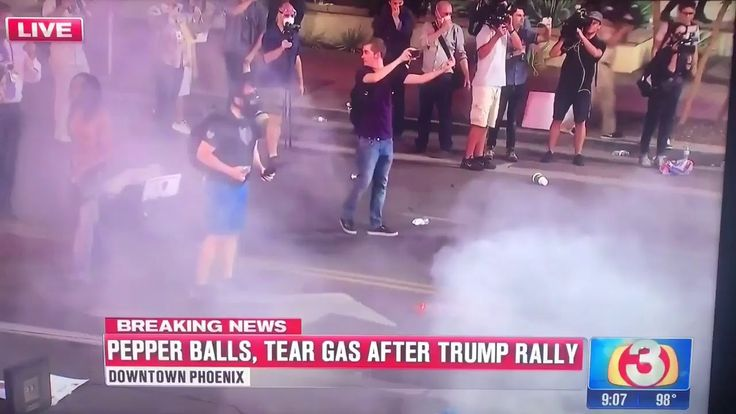 Masked Antifa in Phoenix Rally gets hit in the balls with Tear gas can! Priceless!