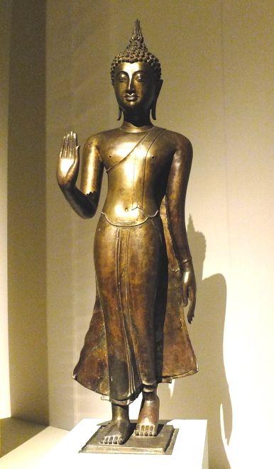 Walking Buddha Bronze 15th or 16th Century Sukhothai Kingdom, Thailand Asian Civilisations Museum