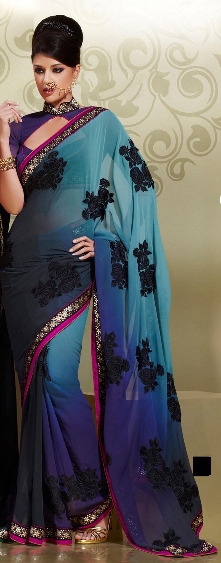 Aqua Blue And Black Faux Georgette Embroidery Saree 15921 With Unstitched Blouse