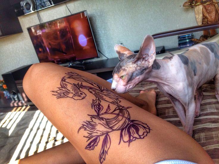 #tatoo#fish#mywork#татуировка#на#ноге#рыбы#цветы