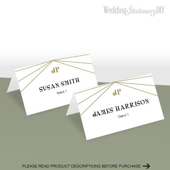 Art deco pLace cards for wedding Printable by WeddingstationeryDIY