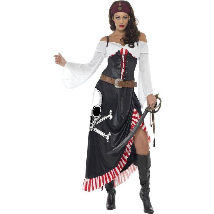 Das Sexy Säbelkämpferin Piratin Kostüm für Damen besteht aus einem schwart-rot-weißen Piratenkleid mit Totenschädel-Aufdruck und einem braunen Gürtel.Es eignet sich somit wunderbar, um auf einer gruseligen Halloween- oder Motto-Party für reichlich Angst und Schrecken unter den hoffentlich zahlreichen Gästen zu sorgen. Schließlich erwartet niemand, dass eine wunderschöne junge Frau derart schaurig daherkommt. Ein Totenschädel auf dem Kleid! Der braune Gürtel stellt zum in den Farben Schwarz…