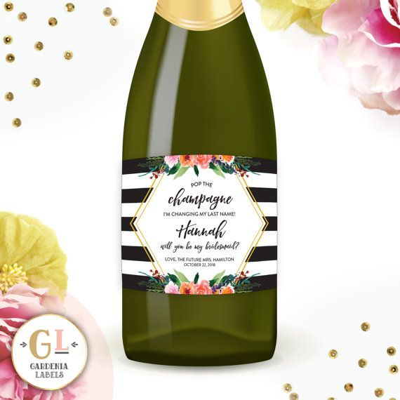 Will You be my Bridesmaid Custom Champagne labels. Perfect addition to any Bridesmaid Box! Available in Mini Champagne and Regular Champagne sizes. Personalized wine and champagne labels by GardeniaLabels on Etsy. Shop now!