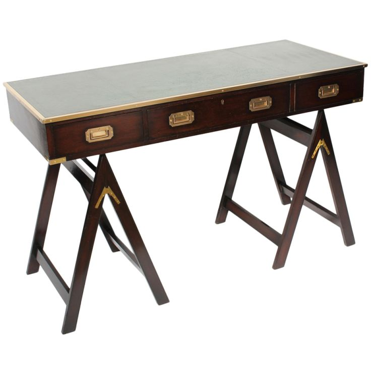 Campaign Style Desk On Sawhorse Legs | From A Unique Collection Of Antique  And Modern Desks