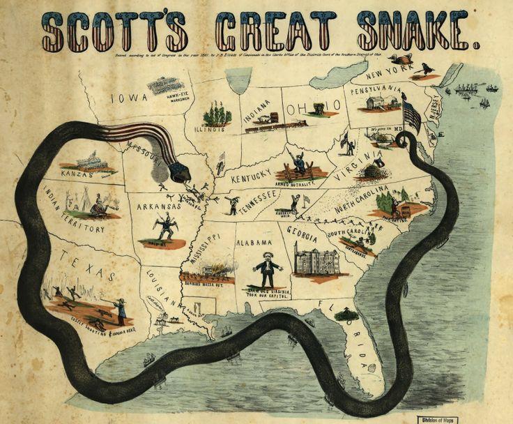 civil war map scotts great snake 1861