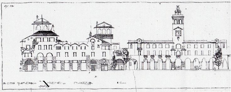 Piazza Sempione, Aniene (Montesacro III), ICP project.  Buildings by Innocenzo Sabbatini