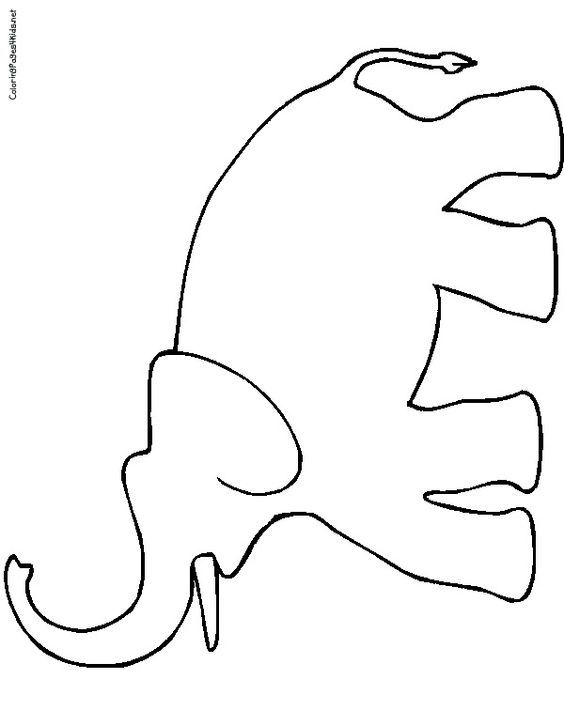 This is a picture of Insane Elephant Outline Printable
