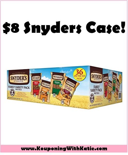 Grab A Variety 36 Pack Of Snyder's Pretzels For Just $8 Delivered!!! Here's an awesome snack deal for you! Grab this case of Snyder's Assorted Pretzels (36ct) for just $8.16 when you choose Subscribe & Save, and get free shipping too! http://www.kouponingwithkatie.com/2017/07/11/grab-a-variety-36-pack-of-snyders-pretzels-for-just-8-delivered/