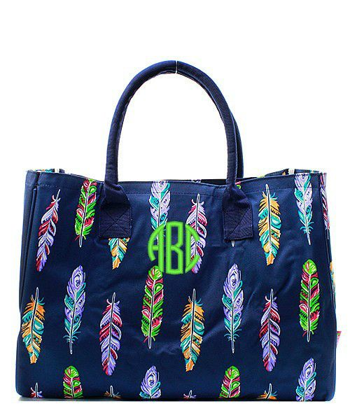 Personalized Multi-Color Feather Oversized Large Beach Bag Tote - Navy