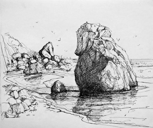 Beach Rocks Thinking Of R Crumb A Joy Perrin Ink Drawing