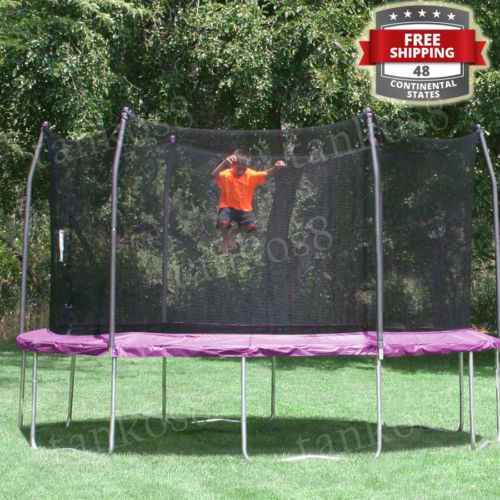 12-039-Round-Yard-Recreation-Trampolines-Outdoor-Kids-Steel-Frame-Family-Fun-Games