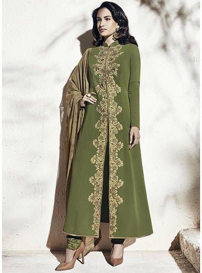 Olive Green Colour Designer Embroidery Straight Cut Pakistani Salwar Kameez-1009-B