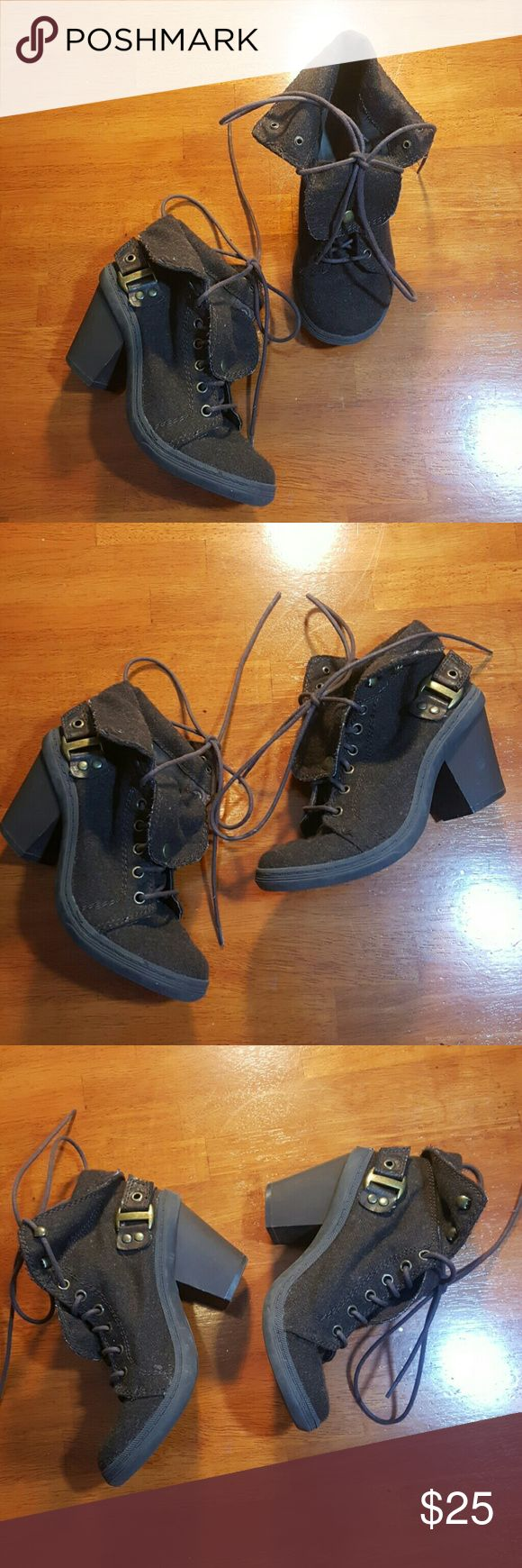 Big buddha shoes Brown woollike...chunky rubber sole..ties up..wear them folded or unfolded..also choose to wear the tongue folded and buttoned or unfolded..super cute Big Buddha Shoes Ankle Boots & Booties