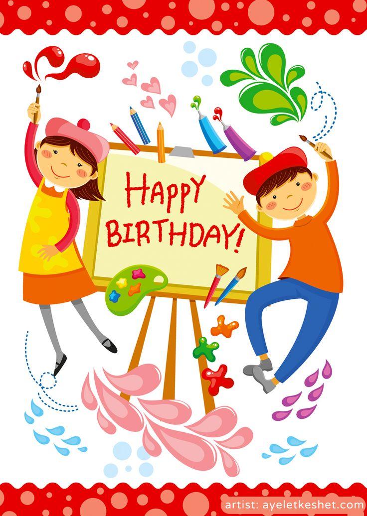 Happy Birthday card cartoon illustration of artistic boy