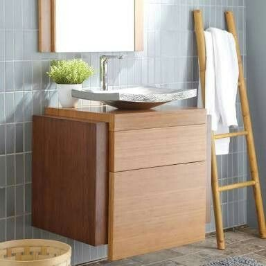 Tiles stacked vertically - Tile from - Pictured behind Native Trails' wall  mount vanity, Harmony, and Kohani, one of our hammered copper vessel sinks