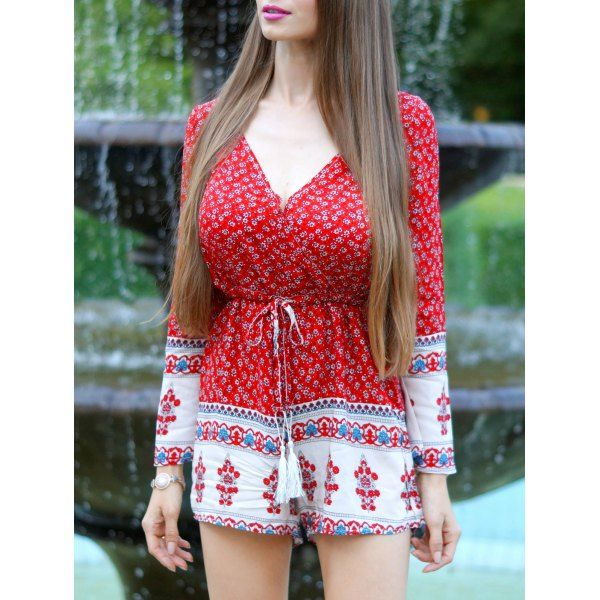 Ethnic Plunging Neck Tribal Pattern Drawstring Lady's Romper #women, #men, #hats, #watches, #belts, #fashion, #style