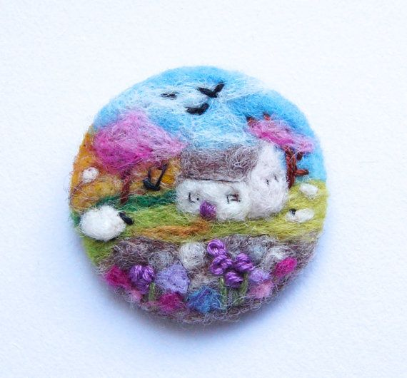 Cottage Felt brooch, Sheep Brooch, Needle felted brooch, wool, 'Dream Cottage', Ireland, Scotland, Gift for her, landscape art, IWANTCRAFT