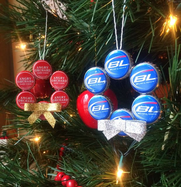 Beer Cap Wreaths. Trey would get a kick out of these. I would use these on a tree in the building outback.