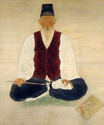 (Korea) Old Korean man by Chun Kyung-ja (1924- 2015). 천경자.