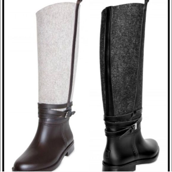 HOST PICK Leather-like black/dark grey rain boot ❗️HOST PICK ❗️❄️New York's finest Grey and black Ferragamo Rain Boots. Sold out at Bloomingdales blogged about on Snob Essentials. Salvatore Ferragamo has put an equestrian take on protective galoshes.  Leather-like black and dark gray boot. I wore them 2x. Functional like a hunter wellington  but these are so chic with the wool/felt that people will be stopping you to ask where you got them. Better than Burberry and Hunters and other popular…